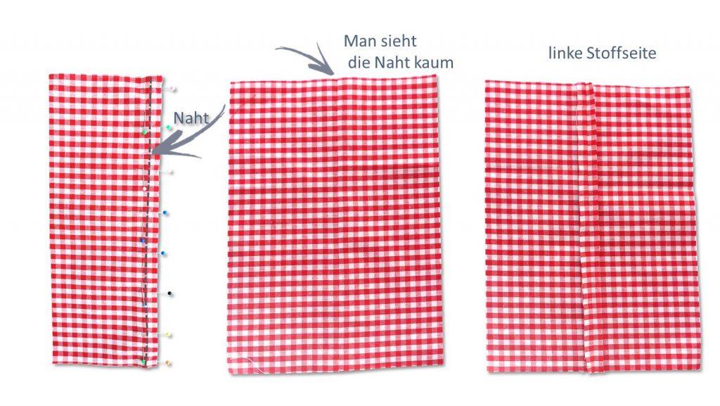 Karierte Stoffe mit vielen Nadeln stecken