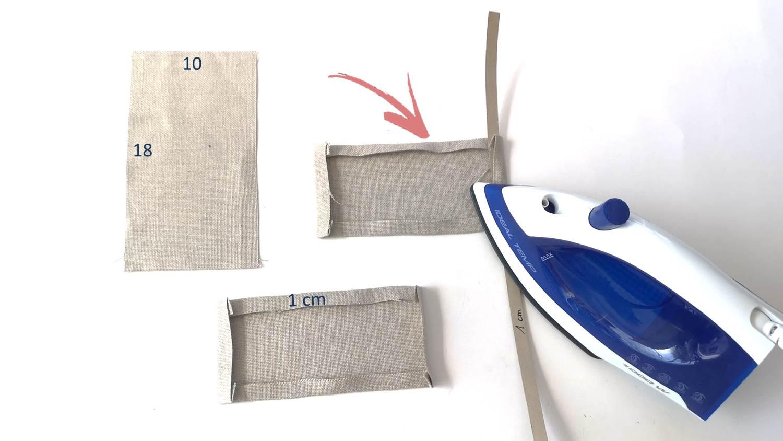 Rechteck ausschneiden und 1 cm nach links umbuegeln
