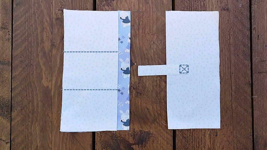 Innentasche aufteilen mit einer Naht und Klettverschluss anbrigen